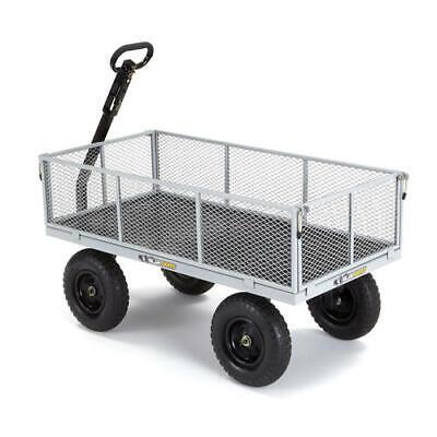 Heavy Duty 1200 Lb Gray Steel Utility Flatbed Cart Yard Garden Hauling Wagon