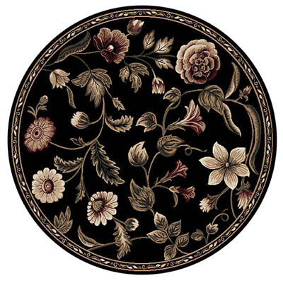 Oriental Floral Black Area Rug 8X8 Persien Round 029 - Actual 7' 10