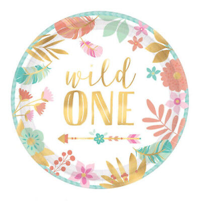 1st BIRTHDAY Boho Girl Wild One SMALL PAPER PLATES (8) ~ Party Supplies Cake](Boho Birthday Party)