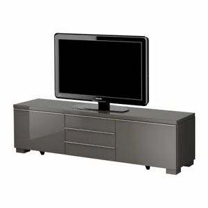 ikea besta best burs tv bench and storage unit high gloss grey ebay. Black Bedroom Furniture Sets. Home Design Ideas
