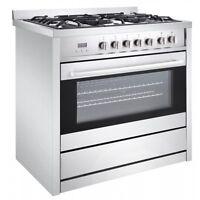 Cuisinière au gaz de 36 po à 5 brûleurs avec four électrique