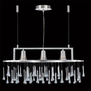 SATIN CHROME 3 LIGHT CHANDELIER WITH CRYSTAL PENDENTS-bnib-mnx