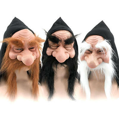 Masked Magician Halloween Costume (Gnome Mask Mens Fancy Dress Halloween Hobbit Wizard Troll Goblin Adults)