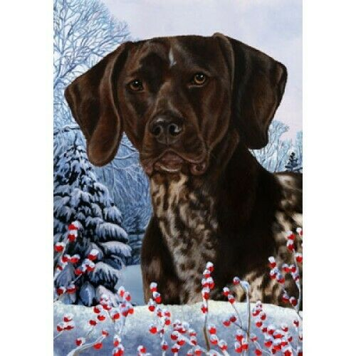 Winter House Flag - German Shorthaired Pointer 15049
