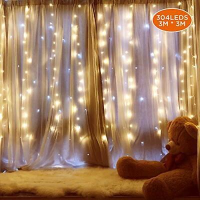 IPOW Cortina de luz 304 LEDs con enchufe, luz led guirnalda decorativa