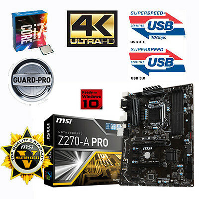 Bundle Intel Core i7 7700K 4x 4,20GHz+MSI Z270-A PRO USB3.1-Sonderaktion