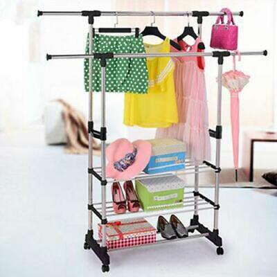 Adjustable Rolling Garment Rack Heavy Duty Clothes Hanger Portable Rail Rack