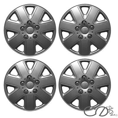 "4 x 15 INCH ALLOY LOOK CAR WHEEL TRIMS/COVERS/SILVER 15"" HUB CAPS ABS PLASTIC"