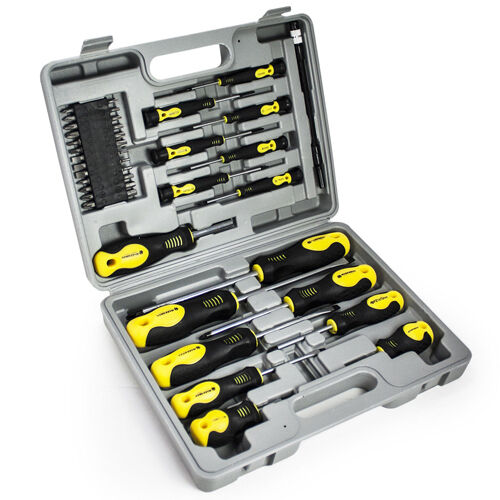 42pc screwdriver bit set in case tool kit torx phillips precision slotted garage ebay. Black Bedroom Furniture Sets. Home Design Ideas