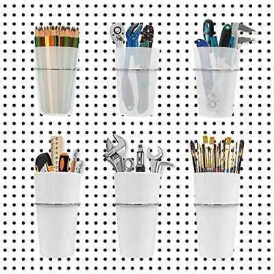Pegboard Bins Baskets 6 Cups Pegboard Accessories 2 Sizes Peg Board Hooks Ac