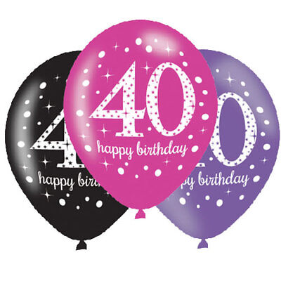40. Geburtstag Luftballons Zahl 40 Pink,Schwarz,Lila Latexballon 6 St. Ø27,5 NEU