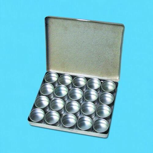Gem Bead Storage Organizer 20 Compartment Jars Glass Top Aluminum Containers