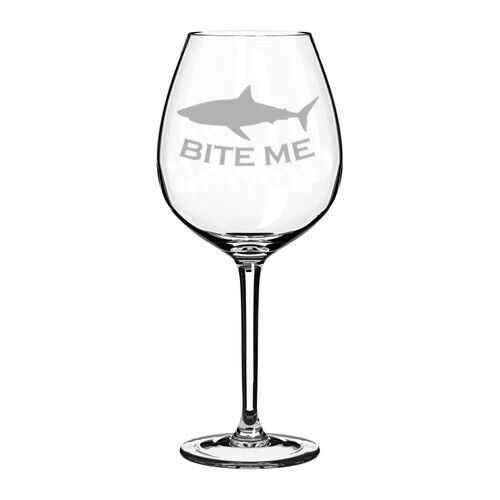 Bite Me Shark Funny Stemmed / Stemless Wine Glass