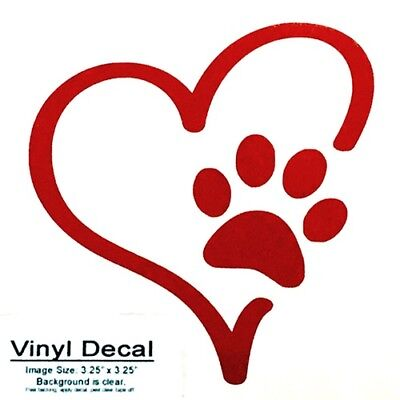 Red Paw Print Heart Vinyl Oracal 651 sticker decal for multi-surfaces.](Red Paw)