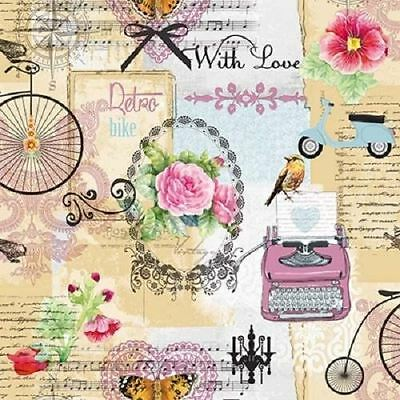 4 x Paper Napkins - Retro Bike - Ideal for Decoupage / Napkin Art