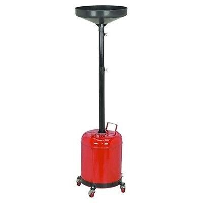 Steel 5 Gal Under Car Hoist Oil Drain Draining Container Pan on Wheels Casters