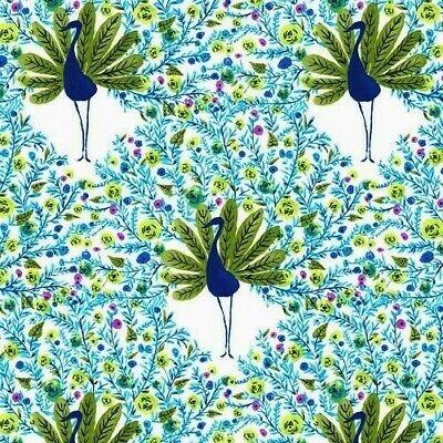 Fantasy Spa (Peacock Pavilion - Fantasy Feathers - Spa Blue - 100% cotton fabric)