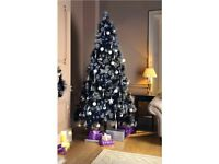 Luxury Black 7ft glitter tipped Christmas tree