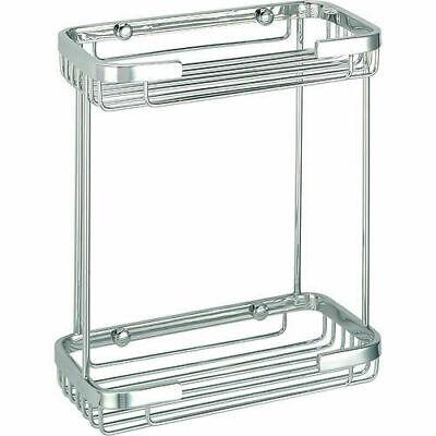 Chrome Wire Storage Basket Rack Wall Mounted Bathroom Shower Caddy Shelf