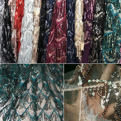 1 Yard Tassel with Sequins Mesh Lace Fabric For Bag Wedding Dress Gown 51