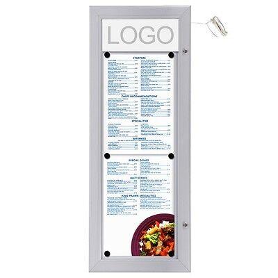 Schaukasten LED 2 x A4 für Speisekarten, (Hochformat) Alu Infokasten