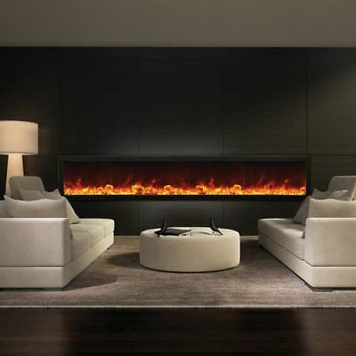 Deep Indoor/Outdoor Electric Fireplace with Black Steel Surround - 88