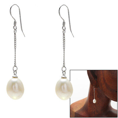 925 Sterling Silver Oval Freshwater Pearl Dangling Earrings