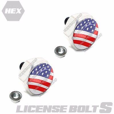 2 Polished Hex Billet License Plate Frame Fastener Tag Bolts - USA FLAG AMERICAN