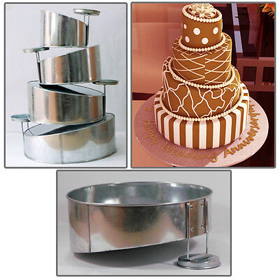 "4 Tier Mini Topsy Turvy Round Birthday Wedding Anniversary Cake Tin 5"" 7"" 9"" 11"""