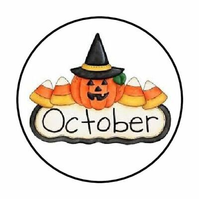 October Halloween Crafts (48 OCTOBER HALLOWEEN PUMPKIN ENVELOPE SEALS LABELS STICKERS 1.2