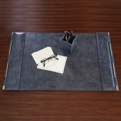 Mid Century Modern Dark Blue Leather Desk Blotter Top Grain Silver Pad Office