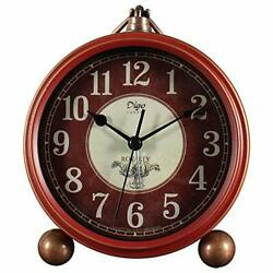 JUSTUP Red Table Clock,Vintage Decorative Non-Ticking Small Table Desk (B)
