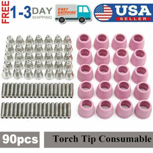 90 pcs Consumables Set For Lotos Plasma Cutter Electrode Nozzles Cups LTP5000D