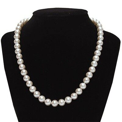 """8-9mm AAA Freshwater White Pearl 18"""" Necklace w/ 14k Solid White Gold Clasp"""