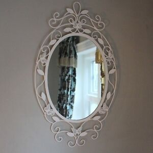 Butterfly Wall Mirror cream metal oval shabby chic vintage home