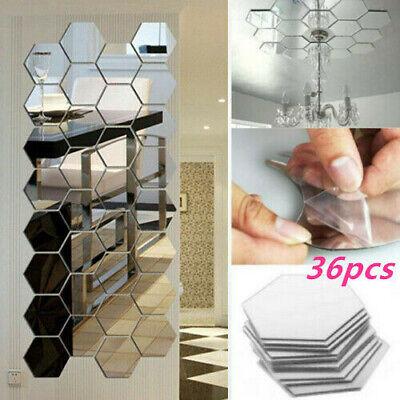 36X Acrylic Mirror Effect Tile Wall Sticker Room Decor Stick