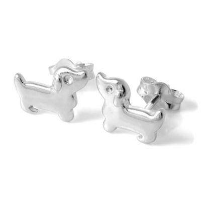 Silver Sausage Dog  Dachshund Doxie Weeiner Cute Pet Stud Earrings Gift Uk