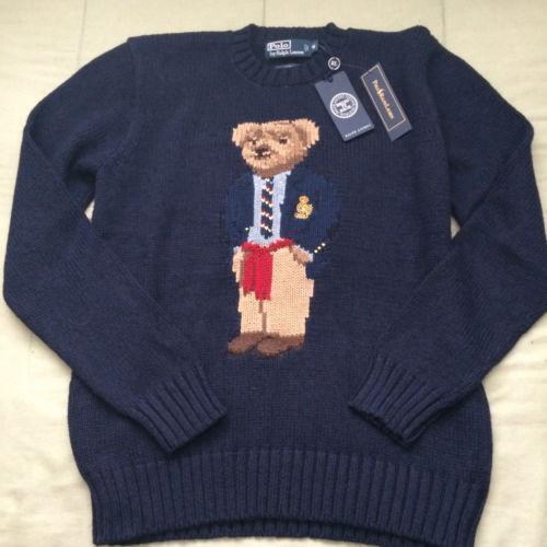 WORLD BEAR Polo Bear Style Embroidered Chest Logo Vintage Sweatshirt ShbAu