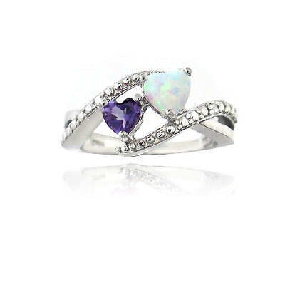925 Silver Diamond Accent Amethyst & Lab Created White Opal Heart (Diamond Created Opal Heart Ring)