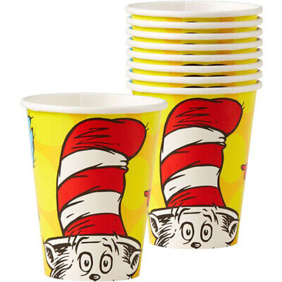 DR SEUSS POLKA DOTS 9oz PAPER CUPS (8) ~ Birthday Party Supplies Beverage Drinks](Dr Seuss Birthday Supplies)