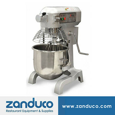 Omcan 20 qt Commercial Planetary Mixer 1.5 hp with Timer, Guard & 3 Attachments