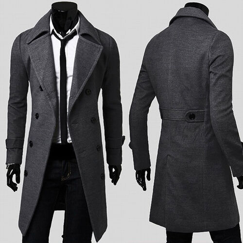 herren mantel schwarz business jacke sakko wintermantel business lang trenchcoat eur 27 23. Black Bedroom Furniture Sets. Home Design Ideas