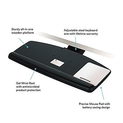 3M Knob Adjust Keyboard Tray Standard Platform Gel Wrist Rest Precise Mouse Pad