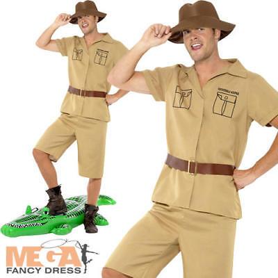 Safari Mens Fancy Dress Zoo Keeper Crocodile Hunter Explorer Adults Costume New](Crocodile Hunter Costume)