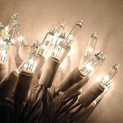 20 CLEAR Christmas mini lights - WHITE wire,craft lights, wreaths, bottles