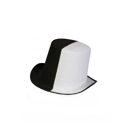 Black & White Mens Halloween Felt Top Hat - Black And White Top Hat