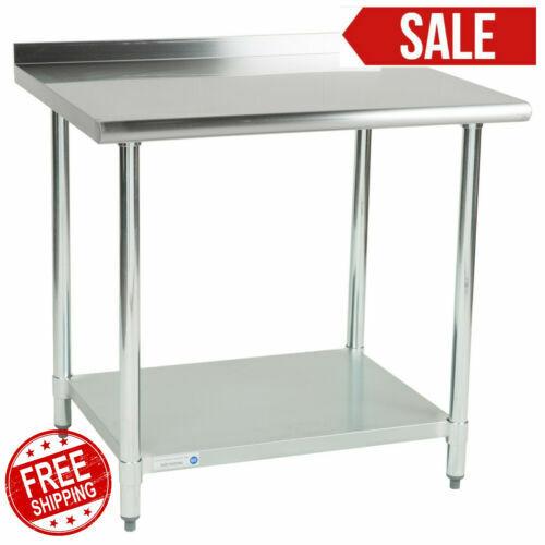 "30"" x 36"" Stainless Steel Work Prep Table Undershelf Restaurant Backsplash NSF"