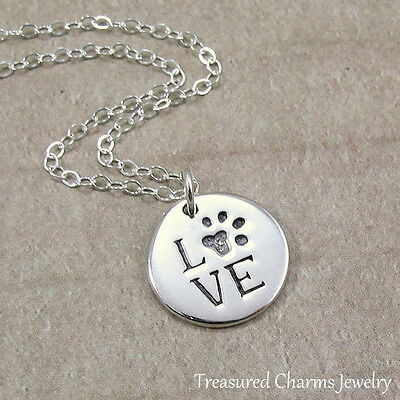 (925 Sterling Silver Paw Print Love Disc Necklace - Dog Cat Lover Pendant NEW)