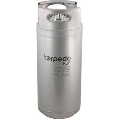 Torpedo Keg 5 Gallon Stackable Stainless Steel Ball Lock Kegs Wrolled Handles