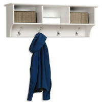 Entryway Cubbie Shelf, White - Meuble d'Entrée Mural, Blanc